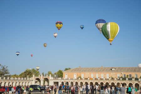 Hot air balloon exhibition in Aranjuez,Madrid, September, 2017 Editorial