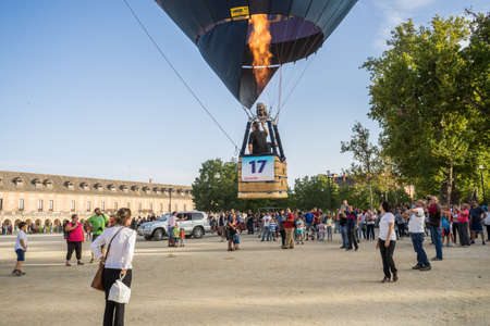 Hot air balloon exhibition in front of Royal Palace Aranjuez,Madrid, September, 2017