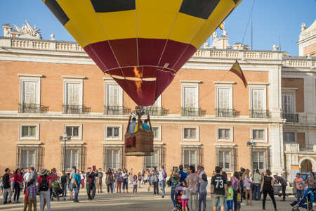 A hot air balloon starting to take off in front of the Royal Palace Aranjuez,Madrid, September, 2017 Editorial