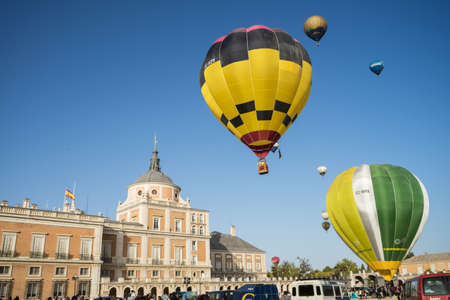 Hot air balloon exhibition in Aranjuez,Madrid, September, 2017 Editorial