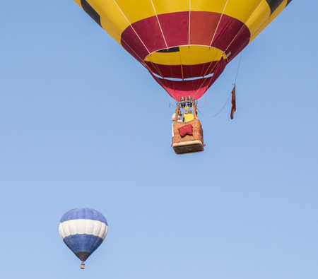 A spanish hot air balloon in the sky.