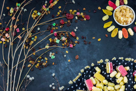 posted: Composite picture posted of dry fruits and sweets