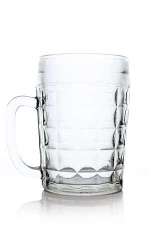Large glass beer mug closeup isolated on white background. photo