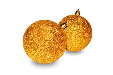 Christmas spheres closeup isolated on white background. Stock Photo