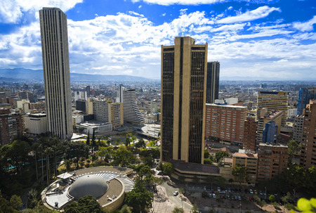 Bogota Colombia Panoramic View, buildings and vegetation. View of the city center. Stock Photo