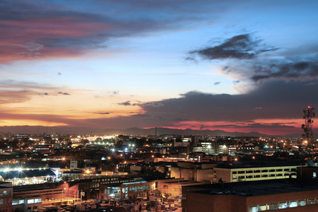 Sunset of Bogota, where you can see the blue and magenta sky. Panoramic view.