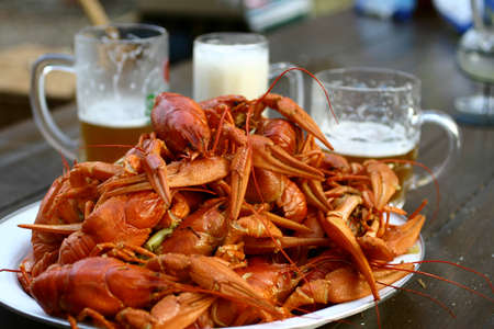 spume: Boiled crayfish and three glasses of beer