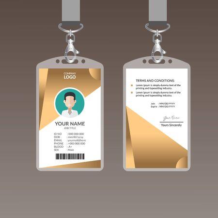 Golden Nice ID Card Template Vector Illustration