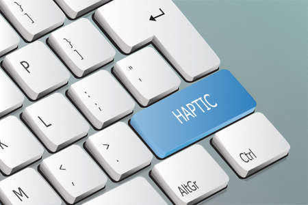 Haptic written on the keyboard button Standard-Bild