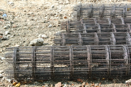reinforcing bar: steel rebar component in a construction site Stock Photo