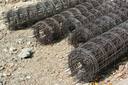 reinforcing bar: Steel rebar component in a construction site
