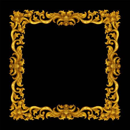 marco madera: Marco de oro de la vendimia aislado en el fondo blanco