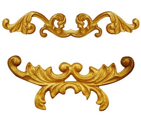 baroque frame: Ornament elements, vintage gold floral designs