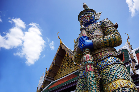 Demon Guardian in Wat Phra Kaew Grand Palace Bangkok Stok Fotoğraf
