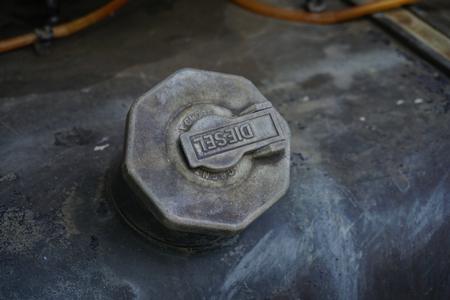 Old steel fuel gas tank in truck Stock Photo