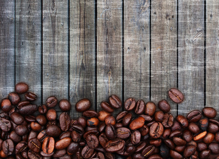 hyperspace: coffee beans on wood background