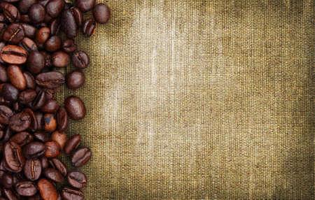 coffeetree: coffee beans on sack background Stock Photo