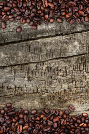 hyperspace: coffee beans and wood background