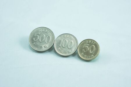 won: south korea coins currency won Stock Photo