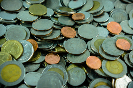 enrich: enrich thailand coins currency baht Stock Photo