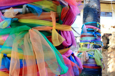 beliefs: Colorful Holy Fabric Wrapped Around Coconut Tree, Thai Superstitions and Beliefs