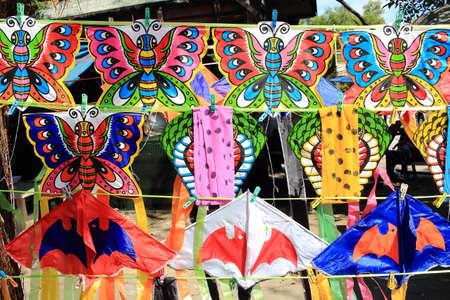 paper kites: Row of Various Paper Kites