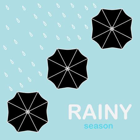 put: Umbrellas Put Up In The Rain