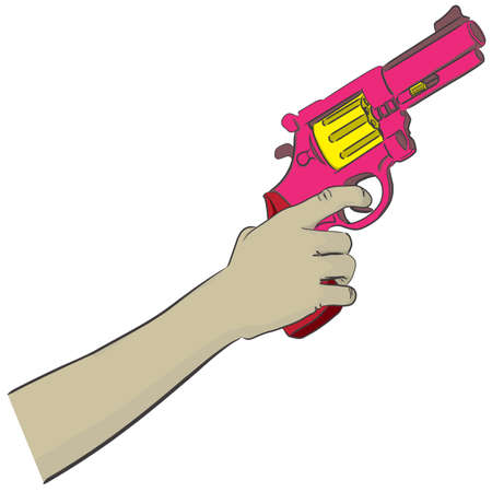 top gun: Hand Holding A Pink Gun And Aim To the Top Illustration