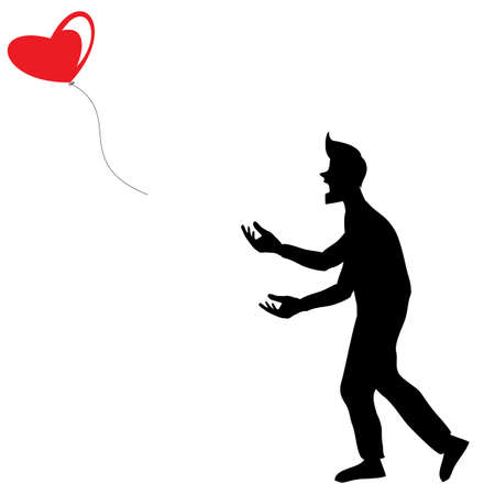 poor man: A Man In Shadow Let the Red Balloon Shaped Heart Fly Away