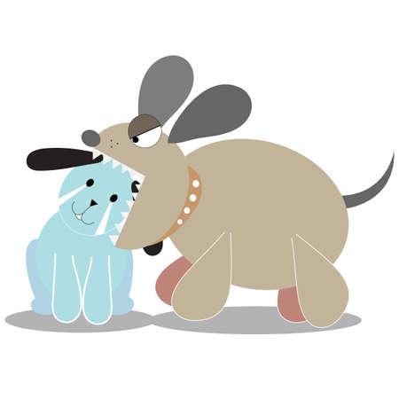 dog bite: DOG EAT DOG ISOLATED ON WHITE BACKGROUND