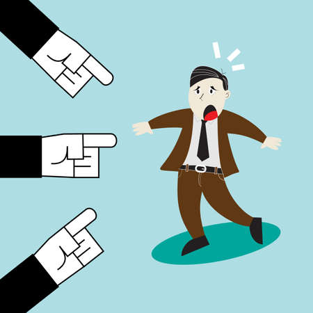 A Man Who To Be Blamed : Three Hands Point The Finger At Business Man Ilustração Vetorial