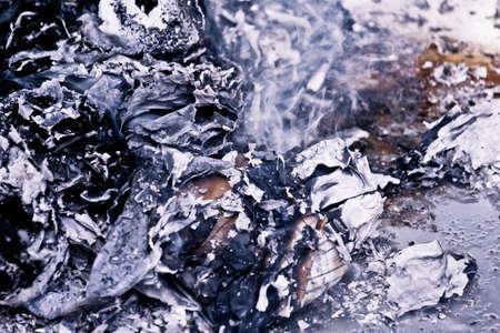 hopelessness: Ashes With Smoke After Fire Extinguished Stock Photo