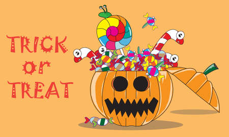 jack o' lantern: Inside Jack O Lantern ; Candy Monster In Halloween Pumpkin Illustration