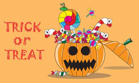Inside Jack O Lantern ; Candy Monster In Halloween Pumpkin Illustration