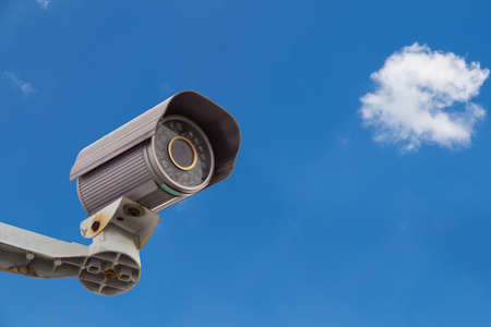 Security Camera and Urban Video CCTV for Monitoring People from The Sky and Cloud photo
