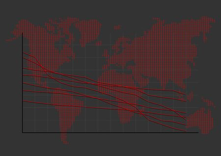 turnover: Stock Market Graph on World Map Show About Turnover