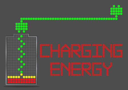 cell charger: Battery Energy Indicator Icon Show about Power Inside Charging Energy Stock Photo