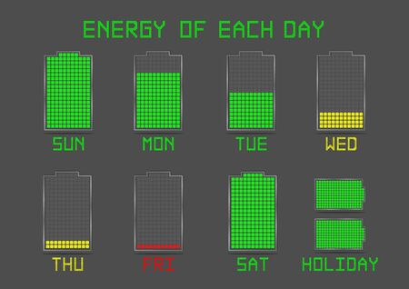 cell charger: Life Businessman and Salaryman Battery Energy Indicator Icon Show about Power or Energy Life of Each Day in a Week