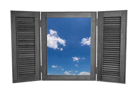 view window: Opened Wooden Window to See View of Blue Sky Isolated on White Background