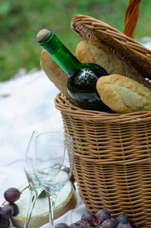 picnic basket and food photo