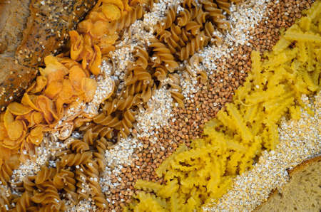 farina: variety of grain products (groats, cornflakes, pasta) Stock Photo