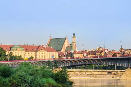 praga: Warsaw Old Town view from Praga over Vistula River Stock Photo