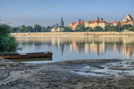 Warsaw Old Town view from Praga over Vistula River photo