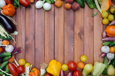 food still: vegetables and fruits composition on wooden table