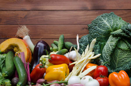 healthy life: vegetables composition on wooden table