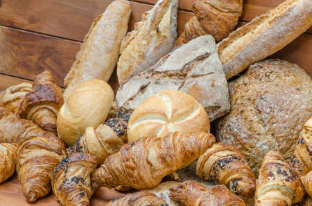bakery products: group of variety  bread products Stock Photo