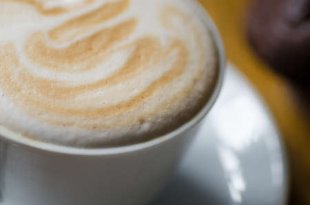 capuchino: cup of coffee with foam  detail Stock Photo