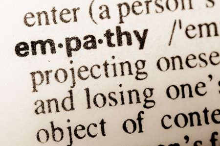 thesaurus: macro of word empathy definition in dictionary Stock Photo