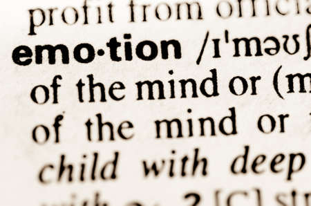lexical: macro of word emotiondefinition in dictionary Stock Photo