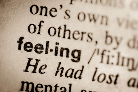 thesaurus: macro of word feeling definition in dictionary Stock Photo